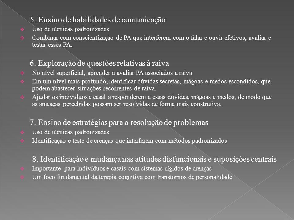 5. Ensino de habilidades de comunicação  Uso de técnicas padronizadas  Combinar com conscientização de PA que interferem com o falar e ouvir efetivo
