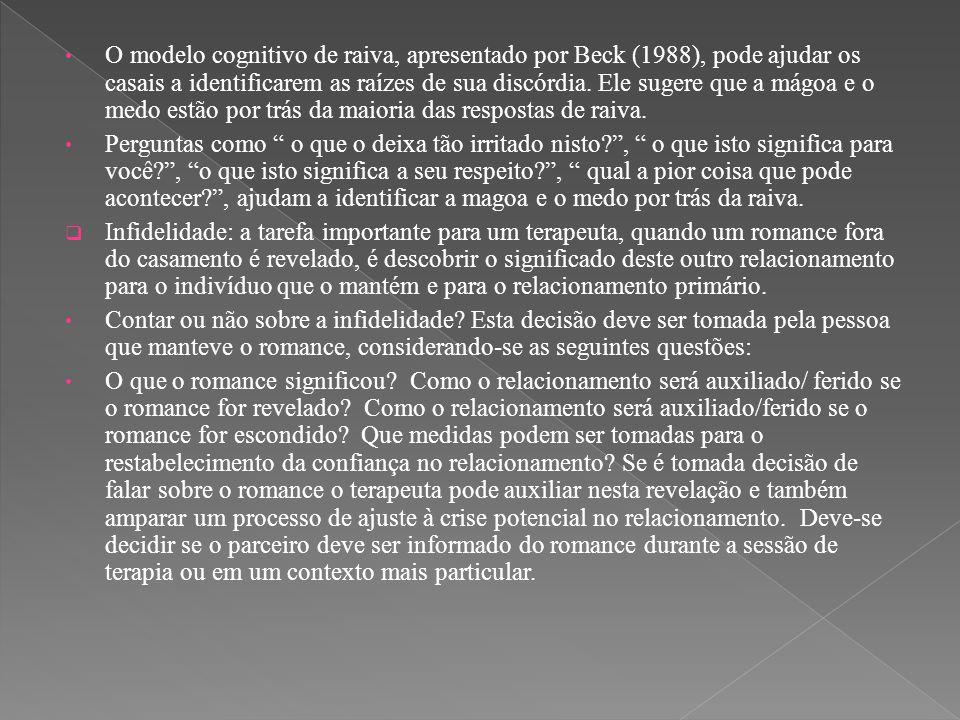 O modelo cognitivo de raiva, apresentado por Beck (1988), pode ajudar os casais a identificarem as raízes de sua discórdia. Ele sugere que a mágoa e o