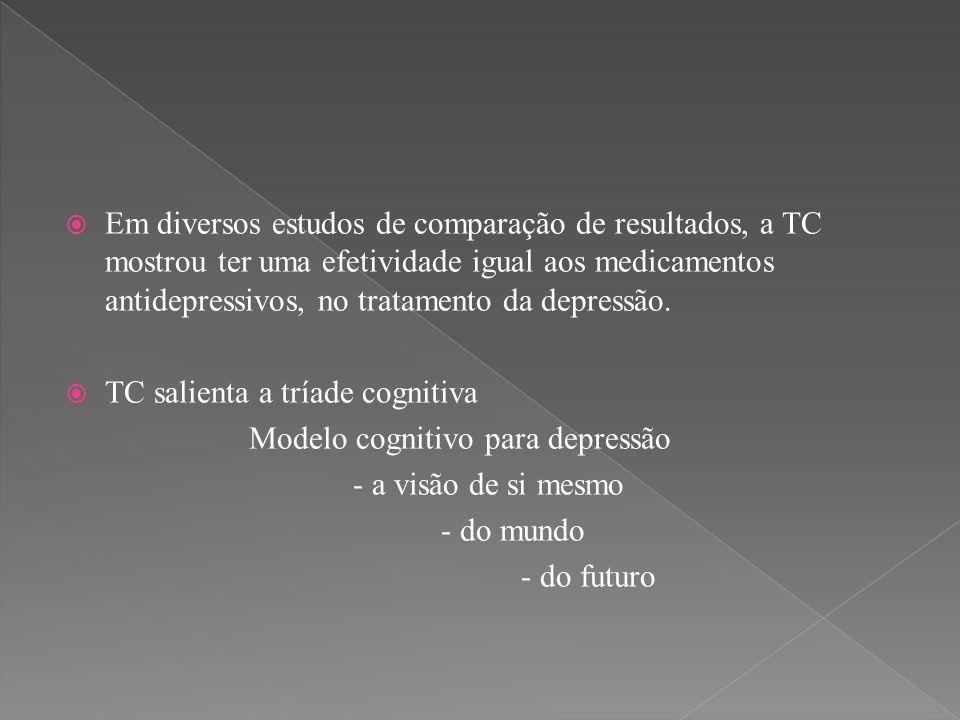  Em diversos estudos de comparação de resultados, a TC mostrou ter uma efetividade igual aos medicamentos antidepressivos, no tratamento da depressão