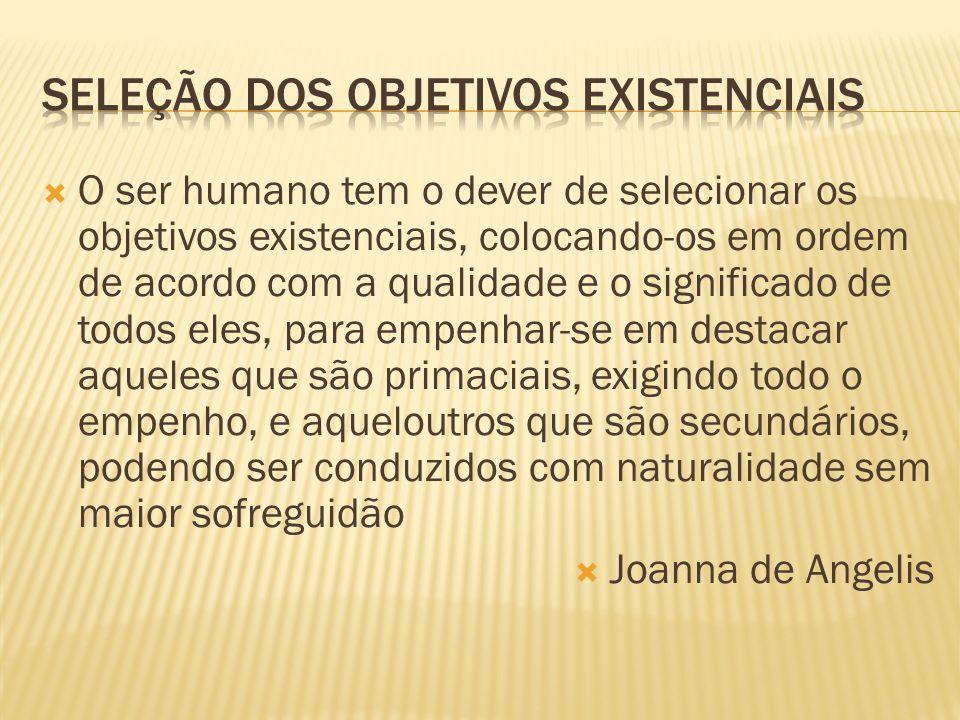  O ser humano tem o dever de selecionar os objetivos existenciais, colocando-os em ordem de acordo com a qualidade e o significado de todos eles, par