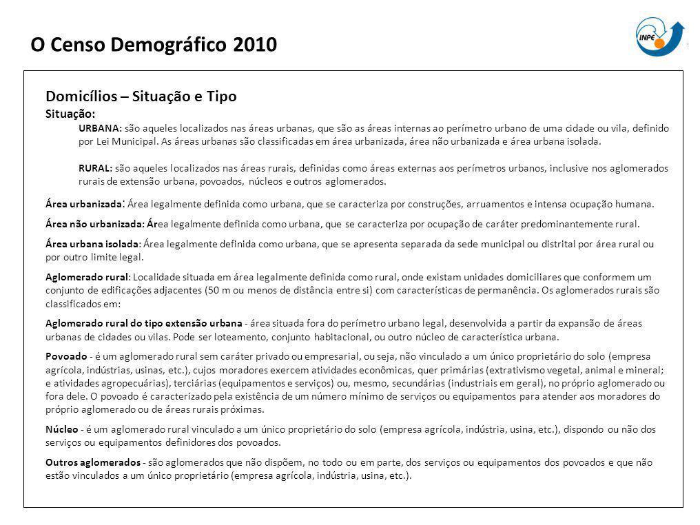 O Censo Demográfico 2010 Domicílios – Situação e Tipo Situação: URBANA: são aqueles localizados nas áreas urbanas, que são as áreas internas ao perímetro urbano de uma cidade ou vila, definido por Lei Municipal.