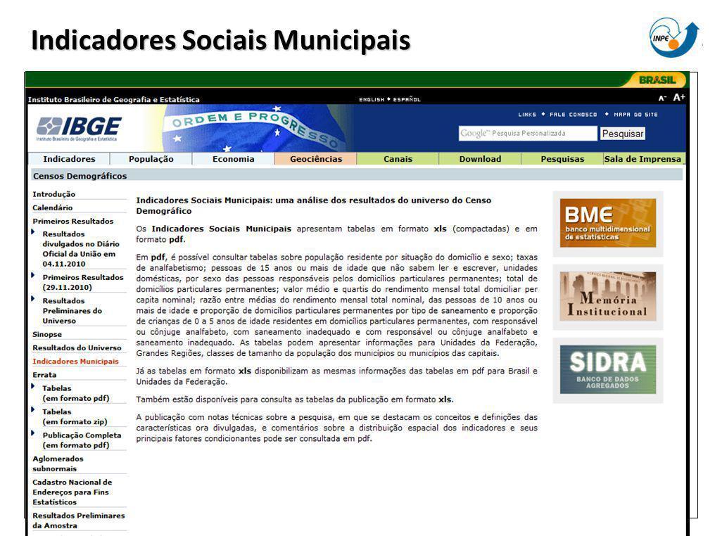 Indicadores Sociais Municipais