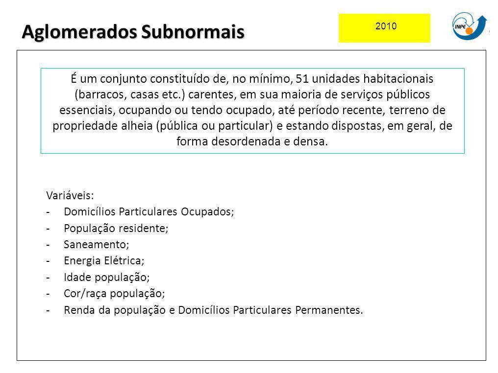 2010 Aglomerados Subnormais É um conjunto constituído de, no mínimo, 51 unidades habitacionais (barracos, casas etc.) carentes, em sua maioria de serv