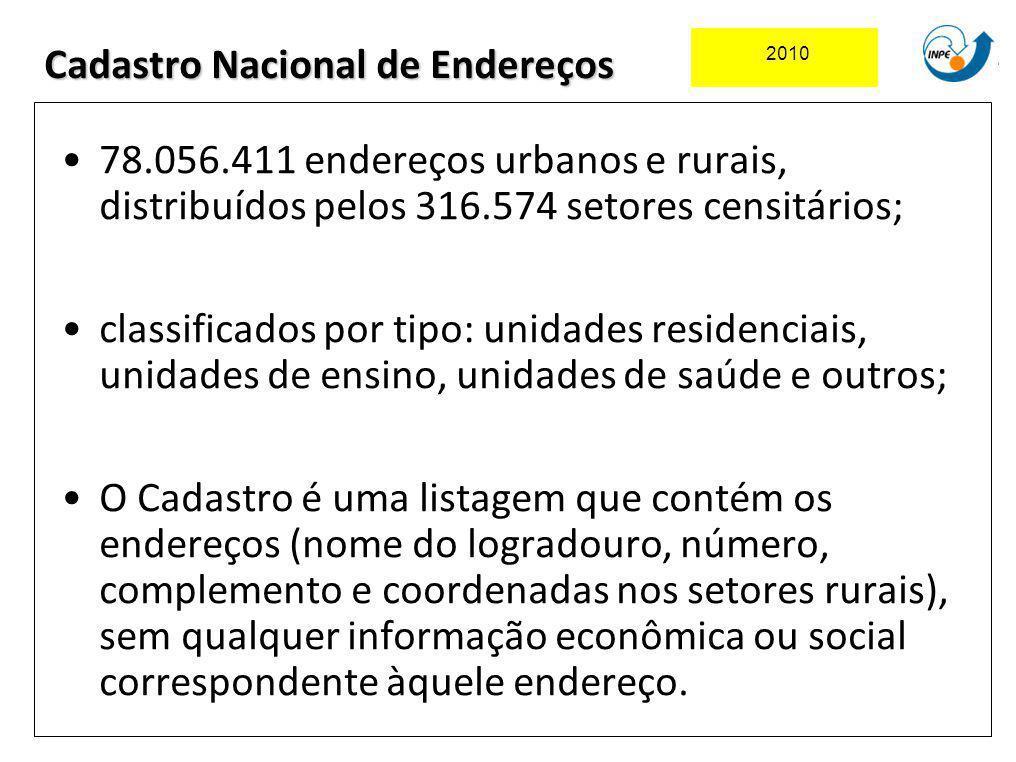 78.056.411 endereços urbanos e rurais, distribuídos pelos 316.574 setores censitários; classificados por tipo: unidades residenciais, unidades de ensi