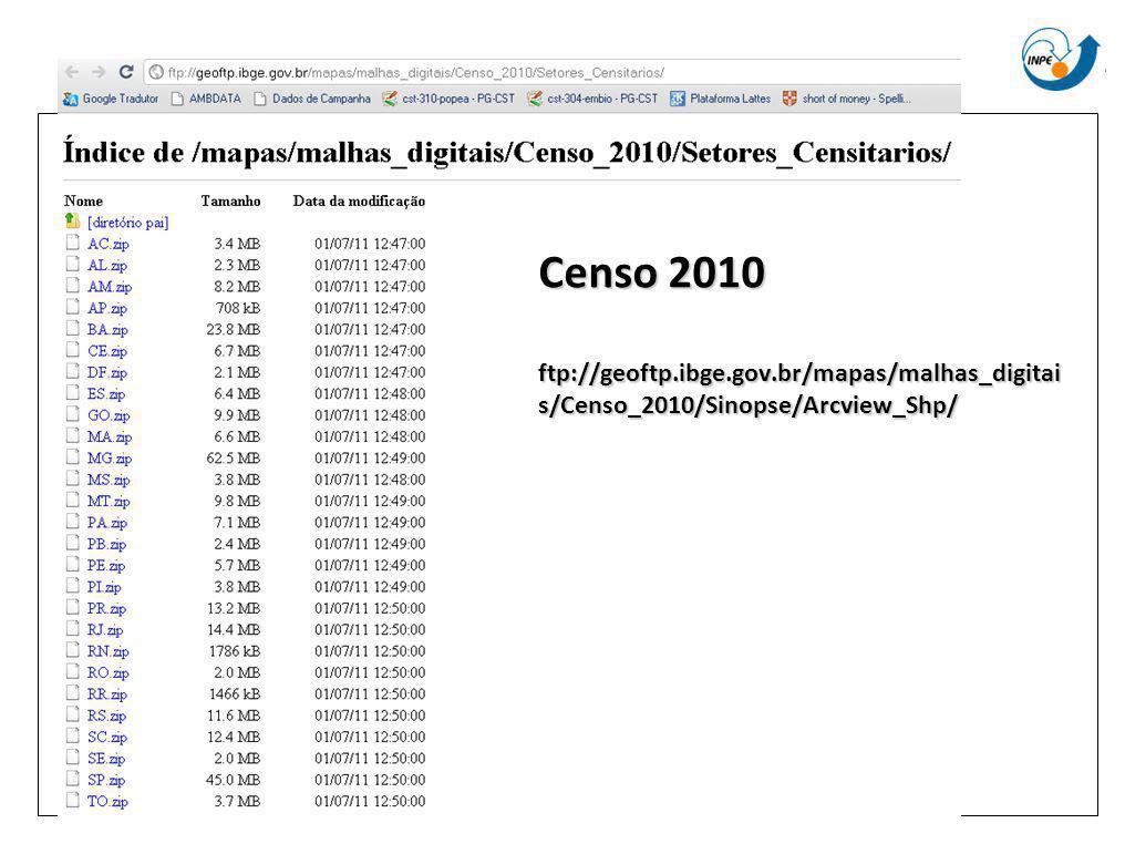 Censo 2010 ftp://geoftp.ibge.gov.br/mapas/malhas_digitai s/Censo_2010/Sinopse/Arcview_Shp/
