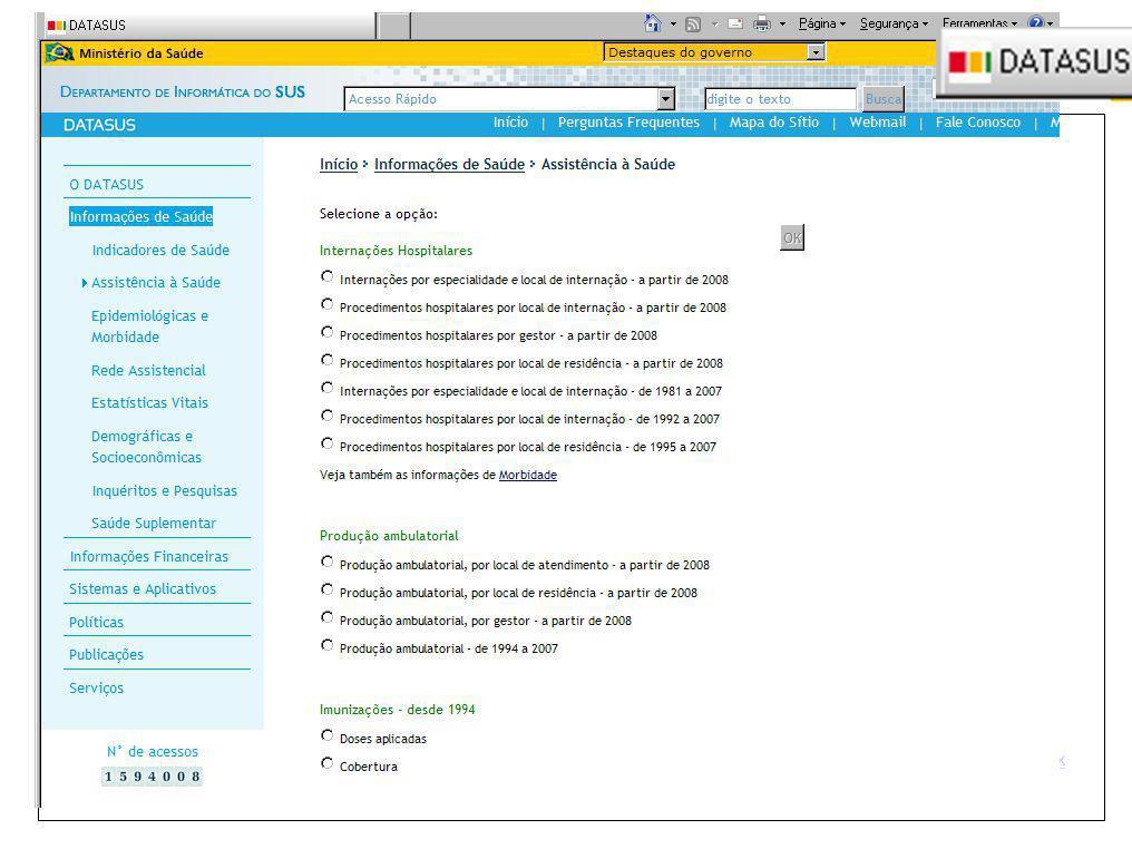 Registro Civil - Ministério da Saúde Sistema de Informações Hospitalares - SIH Coleta das informações da Autorização de Internação Hospitalar (AIH), r