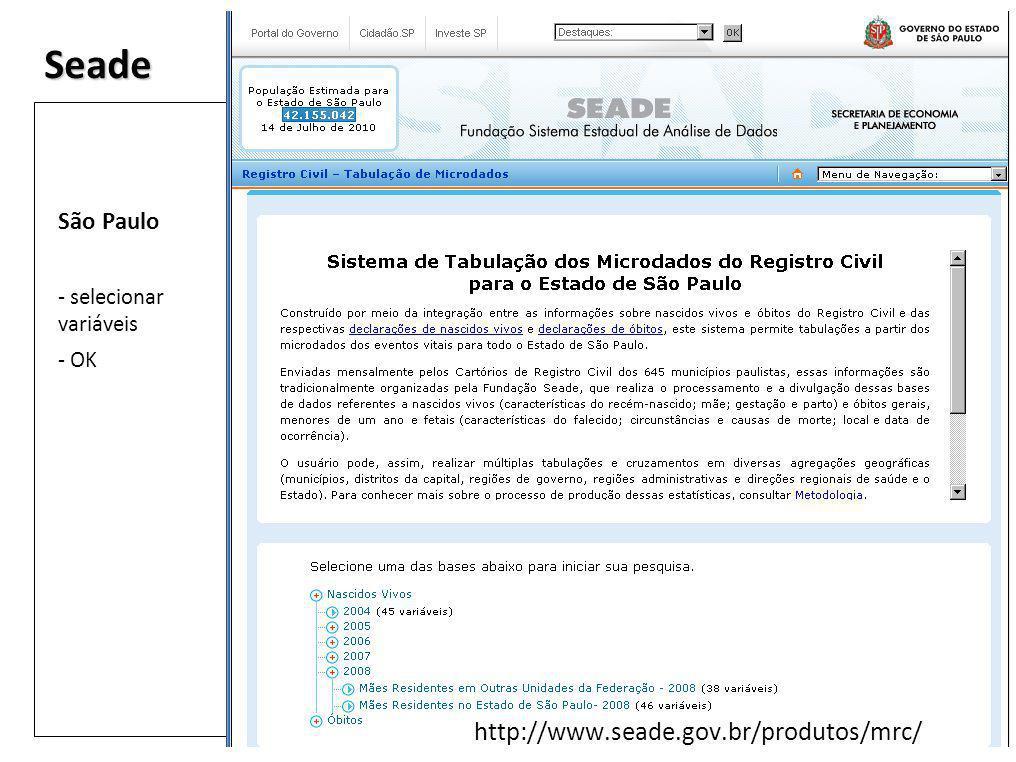 Seade http://www.seade.gov.br/produtos/mrc/ São Paulo - selecionar variáveis - OK