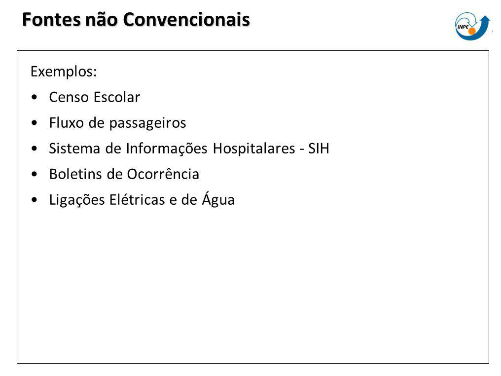 Fontes não Convencionais Exemplos: Censo Escolar Fluxo de passageiros Sistema de Informações Hospitalares - SIH Boletins de Ocorrência Ligações Elétri