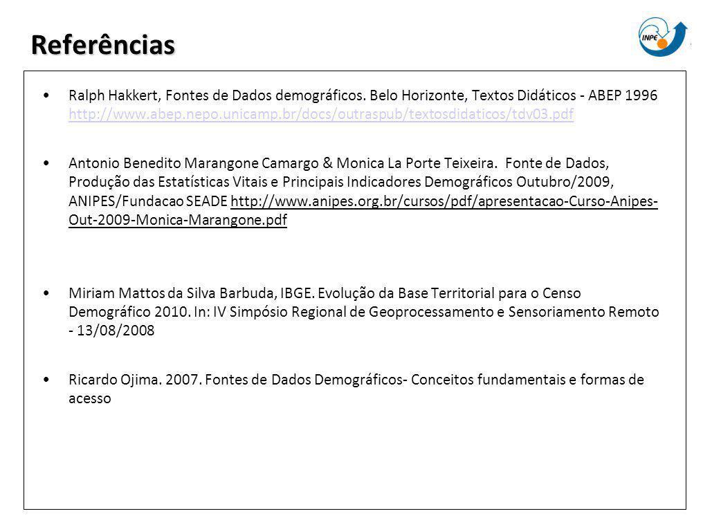 Referências Ralph Hakkert, Fontes de Dados demográficos. Belo Horizonte, Textos Didáticos - ABEP 1996 http://www.abep.nepo.unicamp.br/docs/outraspub/t