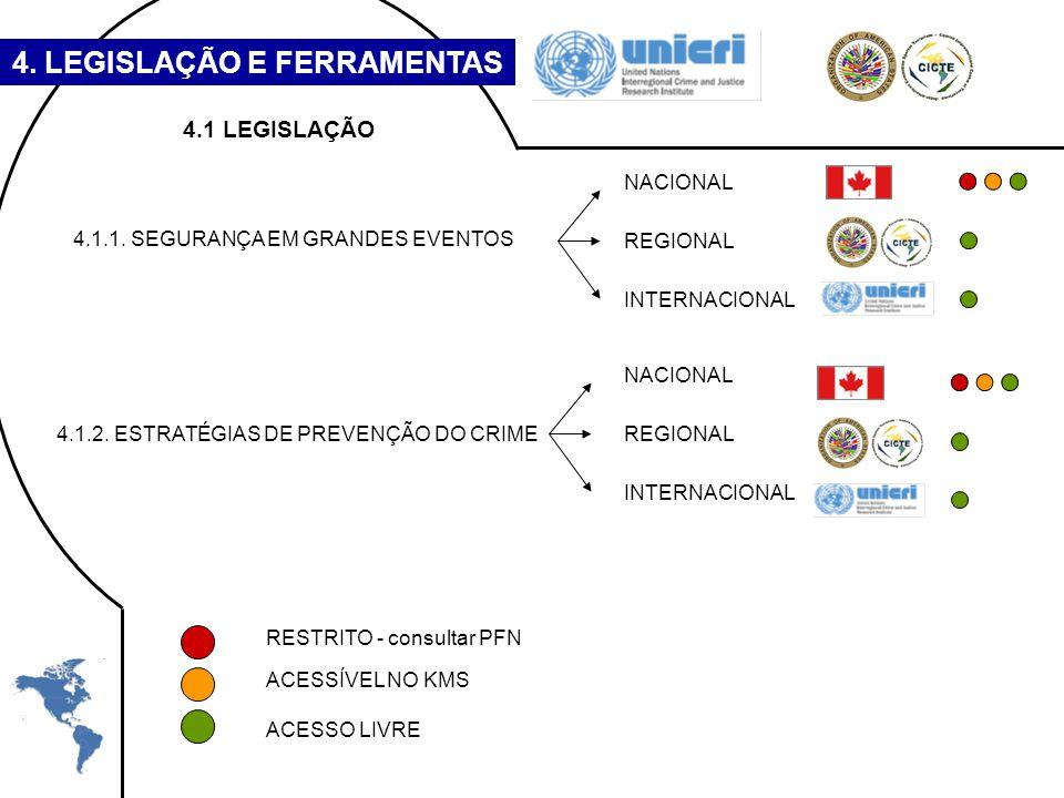 4. LEGISLAÇÃO E FERRAMENTAS RESTRITO - consultar PFN ACESSÍVEL NO KMS ACESSO LIVRE 4.1 LEGISLAÇÃO 4.1.1. SEGURANÇA EM GRANDES EVENTOS 4.1.2. ESTRATÉGI