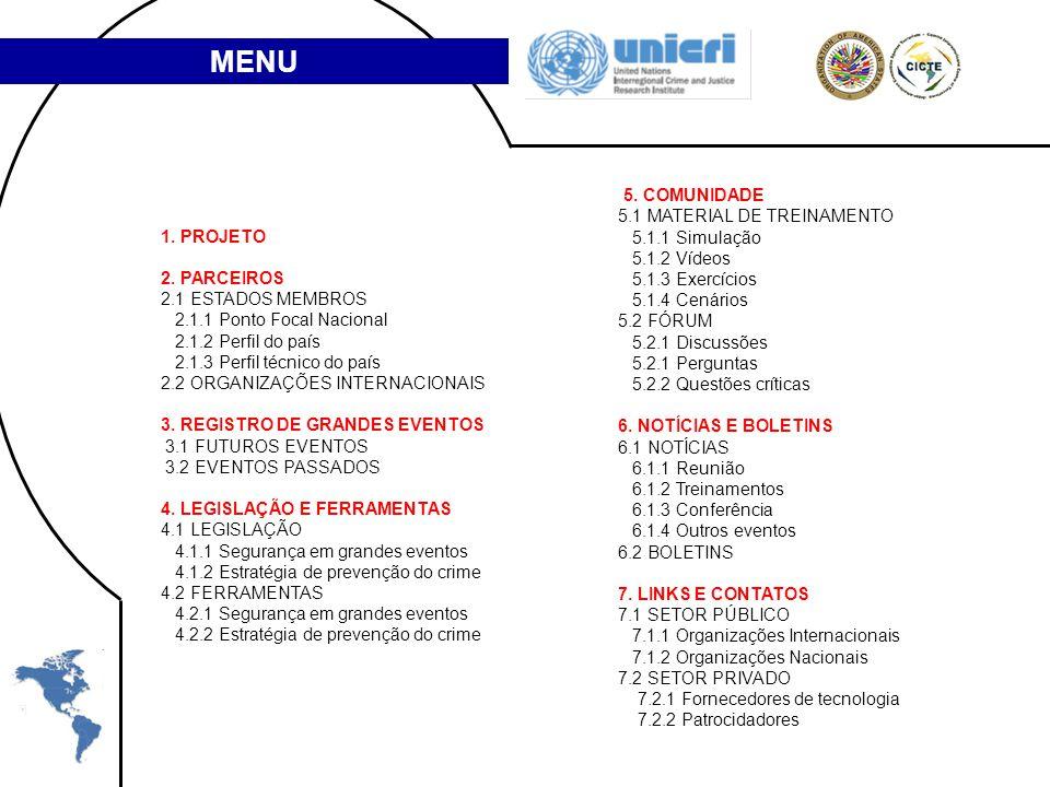 1. PROJETO 2. PARCEIROS 2.1 ESTADOS MEMBROS 2.1.1 Ponto Focal Nacional 2.1.2 Perfil do país 2.1.3 Perfil técnico do país 2.2 ORGANIZAÇÕES INTERNACIONA