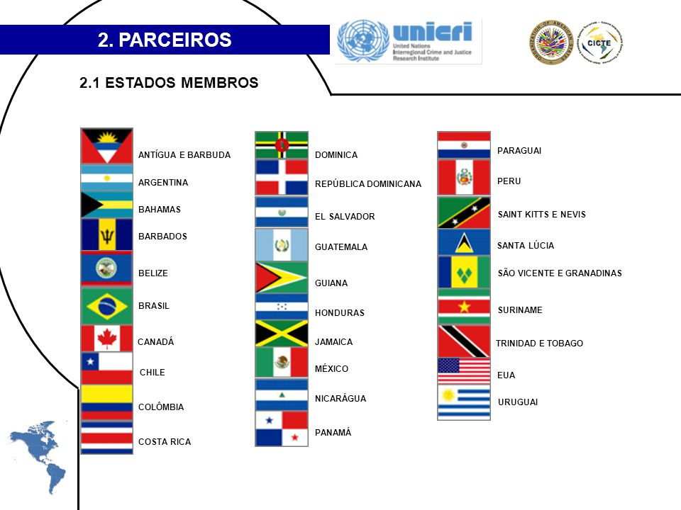2. PARCEIROS ANTÍGUA E BARBUDA ARGENTINA BAHAMAS BARBADOS BELIZE BRASIL CANADÁ CHILE COLÔMBIA COSTA RICA DOMINICA REPÚBLICA DOMINICANA EL SALVADOR GUA