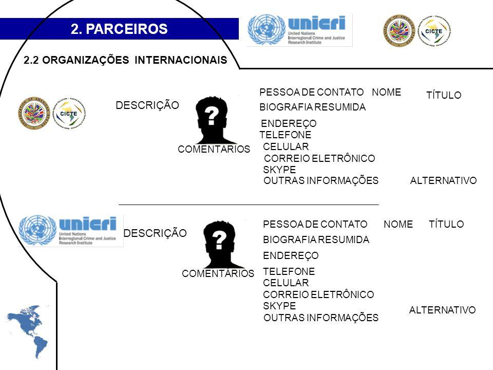 2. PARCEIROS DESCRIÇÃO PESSOA DE CONTATONOME TÍTULO TELEFONE CELULAR SKYPE ENDEREÇO CORREIO ELETRÔNICO ALTERNATIVOOUTRAS INFORMAÇÕES COMENTÁRIOS BIOGR
