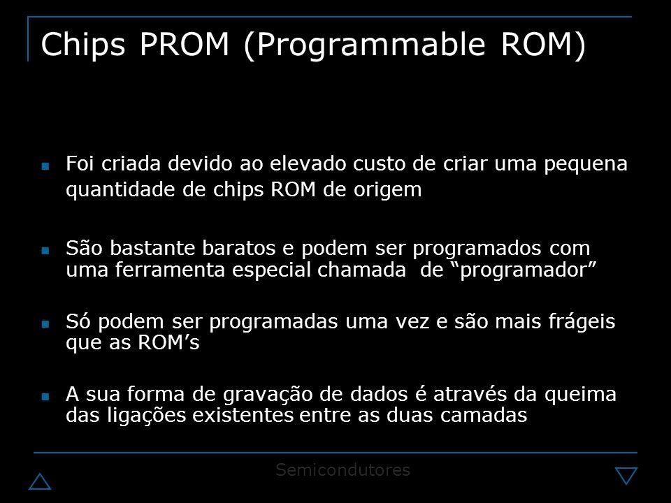 Chips PROM (Programmable ROM) Foi criada devido ao elevado custo de criar uma pequena quantidade de chips ROM de origem São bastante baratos e podem ser programados com uma ferramenta especial chamada de programador Só podem ser programadas uma vez e são mais frágeis que as ROM's A sua forma de gravação de dados é através da queima das ligações existentes entre as duas camadas Semicondutores
