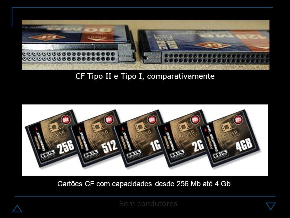 CF Tipo II e Tipo I, comparativamente Cartões CF com capacidades desde 256 Mb até 4 Gb Semicondutores
