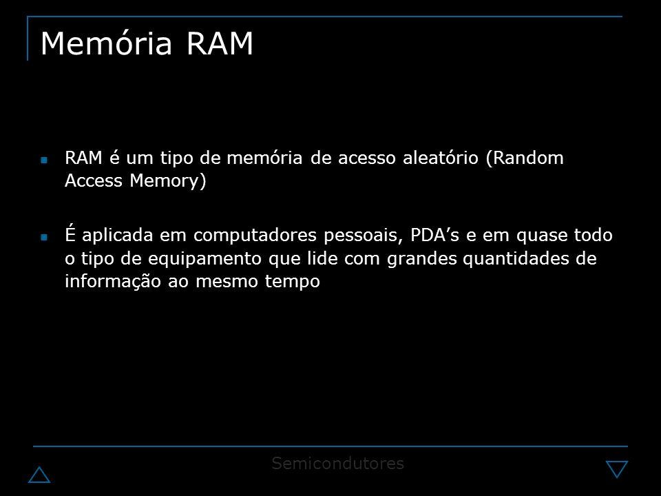 Memória RAM RAM é um tipo de memória de acesso aleatório (Random Access Memory) É aplicada em computadores pessoais, PDA's e em quase todo o tipo de equipamento que lide com grandes quantidades de informação ao mesmo tempo Semicondutores
