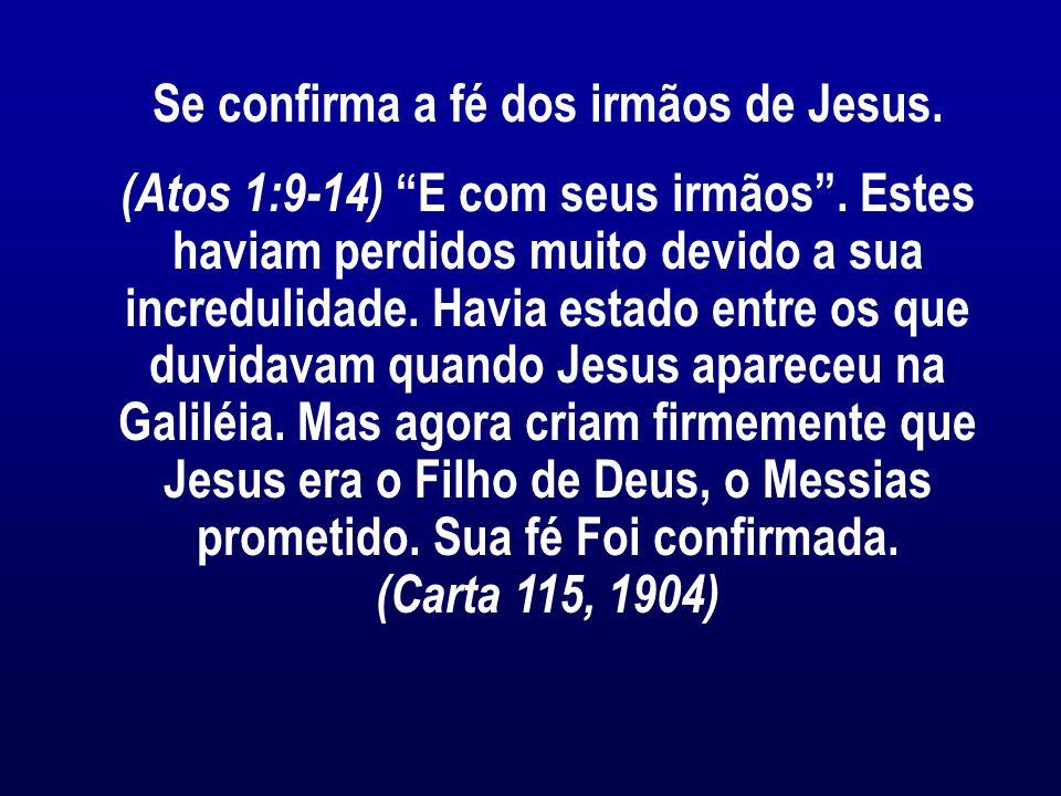 Se confirma a fé dos irmãos de Jesus.(Atos 1:9-14) E com seus irmãos .