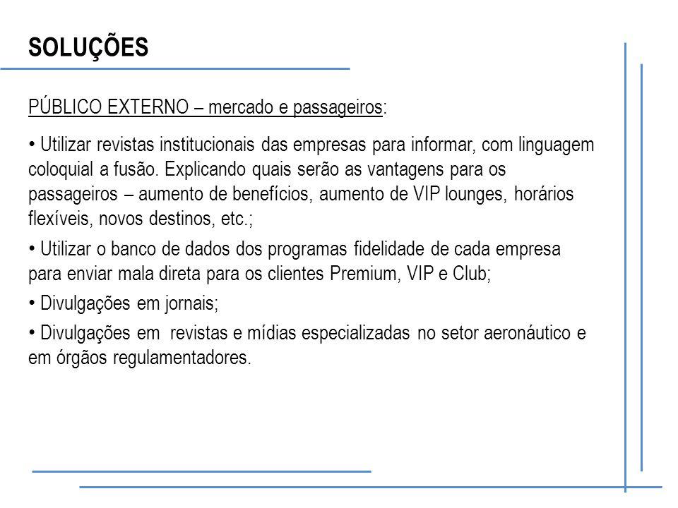 SOLUÇÕES PÚBLICO EXTERNO – mercado e passageiros: Utilizar revistas institucionais das empresas para informar, com linguagem coloquial a fusão.