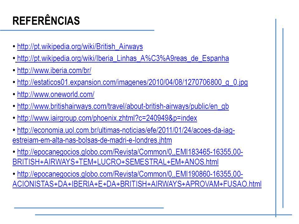 http://pt.wikipedia.org/wiki/British_Airways http://pt.wikipedia.org/wiki/Iberia_Linhas_A%C3%A9reas_de_Espanha http://www.iberia.com/br/ http://estaticos01.expansion.com/imagenes/2010/04/08/1270706800_g_0.jpg http://www.oneworld.com/ http://www.britishairways.com/travel/about-british-airways/public/en_gb http://www.iairgroup.com/phoenix.zhtml c=240949&p=index http://economia.uol.com.br/ultimas-noticias/efe/2011/01/24/acoes-da-iag- estreiam-em-alta-nas-bolsas-de-madri-e-londres.jhtmhttp://economia.uol.com.br/ultimas-noticias/efe/2011/01/24/acoes-da-iag- estreiam-em-alta-nas-bolsas-de-madri-e-londres.jhtm http://epocanegocios.globo.com/Revista/Common/0,,EMI183465-16355,00- BRITISH+AIRWAYS+TEM+LUCRO+SEMESTRAL+EM+ANOS.htmlhttp://epocanegocios.globo.com/Revista/Common/0,,EMI183465-16355,00- BRITISH+AIRWAYS+TEM+LUCRO+SEMESTRAL+EM+ANOS.html http://epocanegocios.globo.com/Revista/Common/0,,EMI190860-16355,00- ACIONISTAS+DA+IBERIA+E+DA+BRITISH+AIRWAYS+APROVAM+FUSAO.htmlhttp://epocanegocios.globo.com/Revista/Common/0,,EMI190860-16355,00- ACIONISTAS+DA+IBERIA+E+DA+BRITISH+AIRWAYS+APROVAM+FUSAO.html REFERÊNCIAS