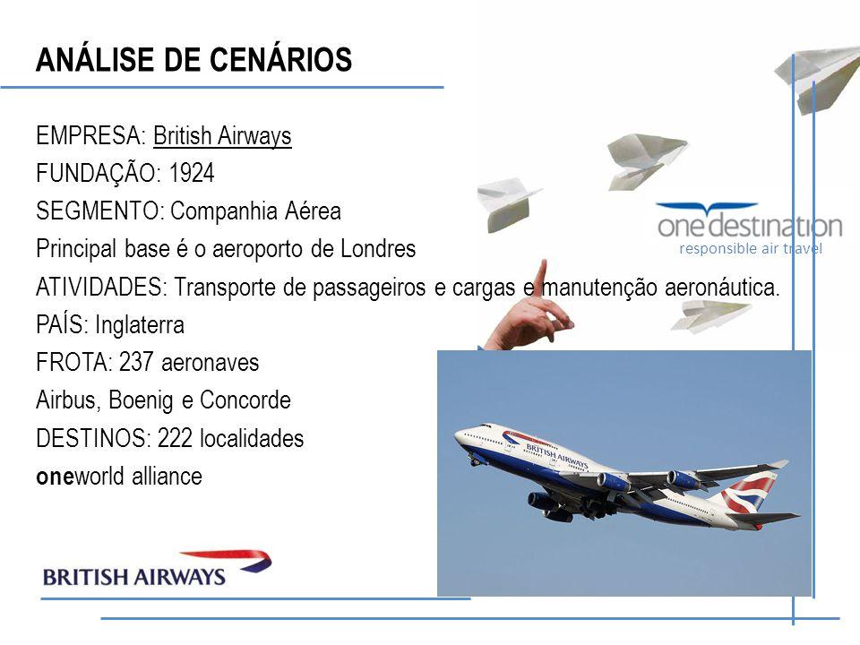 responsible air travel EMPRESA: British Airways FUNDAÇÃO: 1924 SEGMENTO: Companhia Aérea Principal base é o aeroporto de Londres ATIVIDADES: Transporte de passageiros e cargas e manutenção aeronáutica.