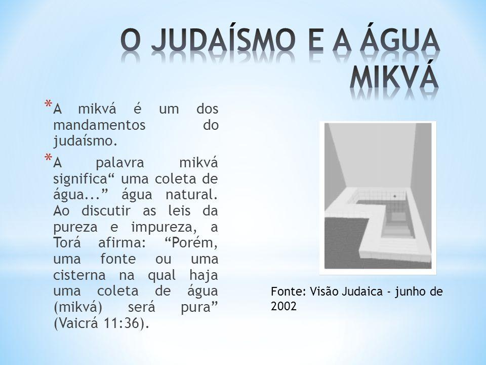 """* A mikvá é um dos mandamentos do judaísmo. * A palavra mikvá significa"""" uma coleta de água..."""" água natural. Ao discutir as leis da pureza e impureza"""