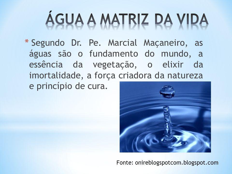 * Segundo Dr. Pe. Marcial Maçaneiro, as águas são o fundamento do mundo, a essência da vegetação, o elixir da imortalidade, a força criadora da nature
