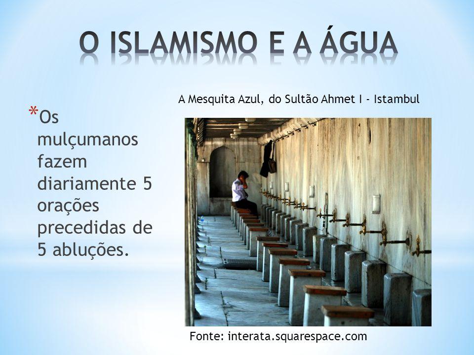 * Os mulçumanos fazem diariamente 5 orações precedidas de 5 abluções.