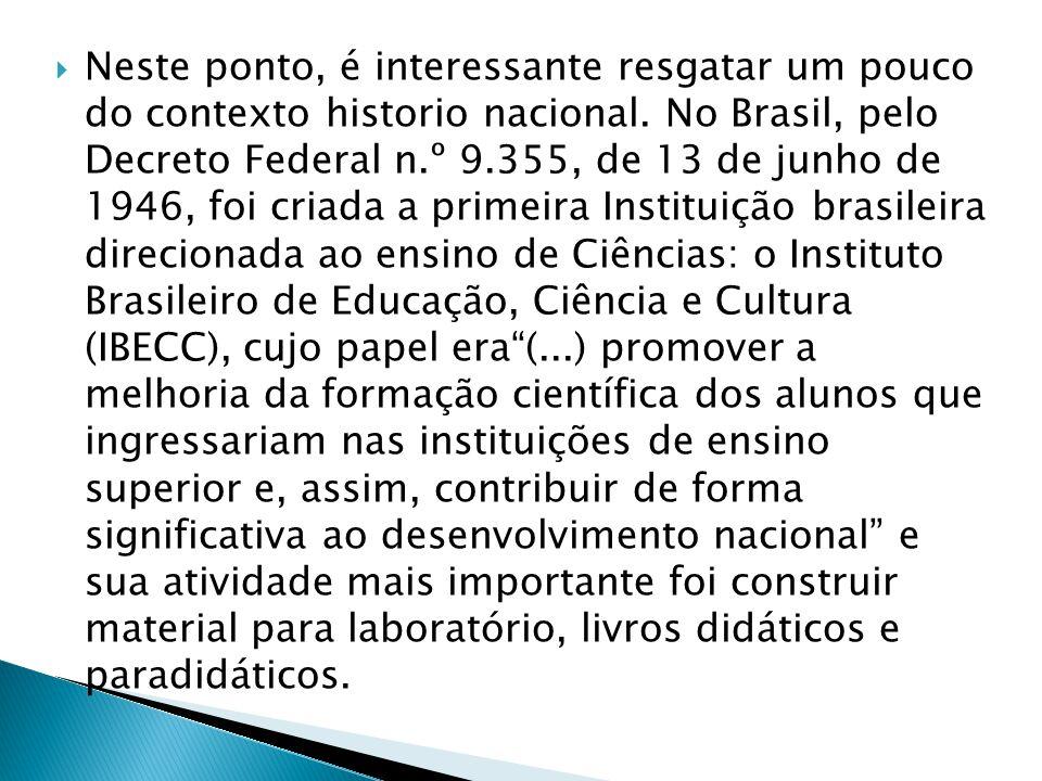  Neste ponto, é interessante resgatar um pouco do contexto historio nacional. No Brasil, pelo Decreto Federal n.º 9.355, de 13 de junho de 1946, foi