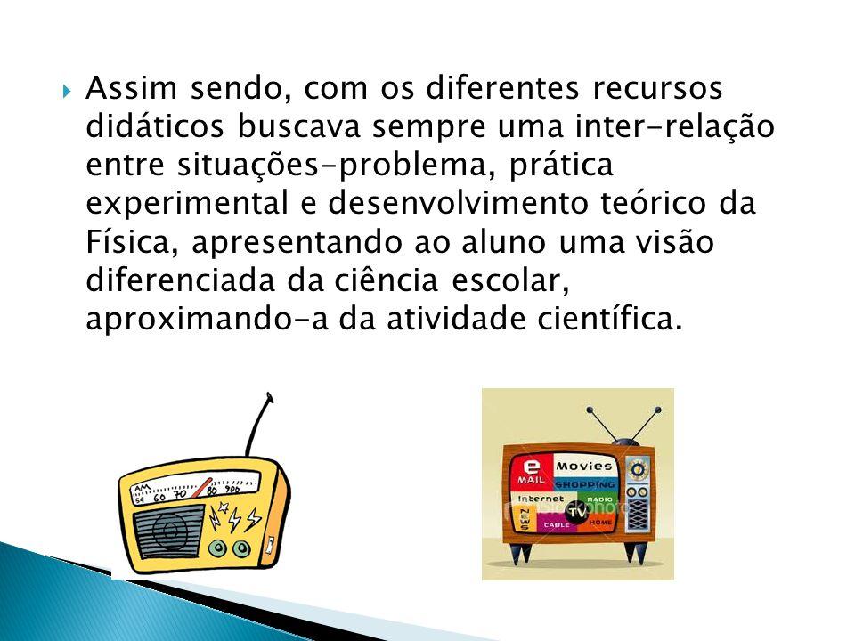  Assim sendo, com os diferentes recursos didáticos buscava sempre uma inter-relação entre situações-problema, prática experimental e desenvolvimento