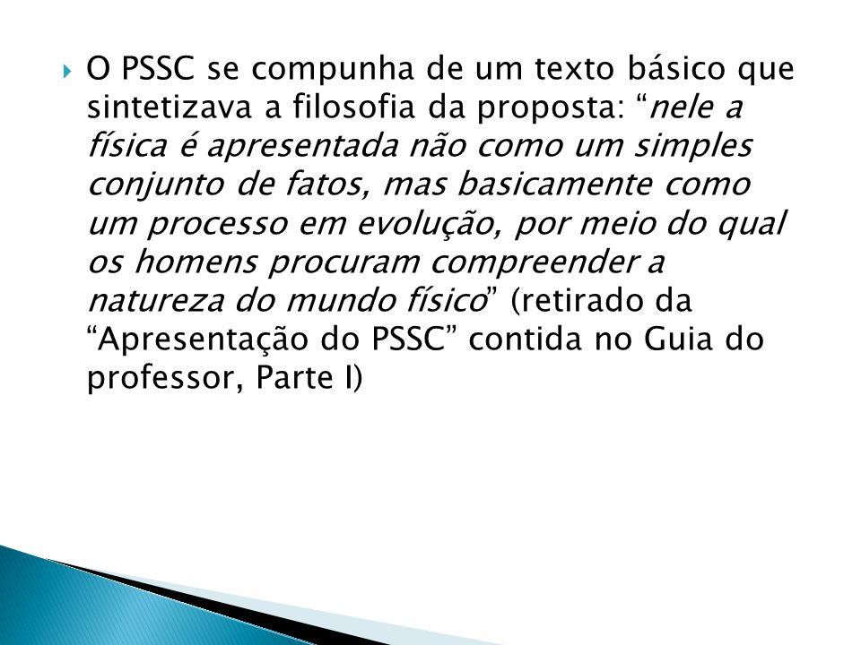 """ O PSSC se compunha de um texto básico que sintetizava a filosofia da proposta: """"nele a física é apresentada não como um simples conjunto de fatos, m"""