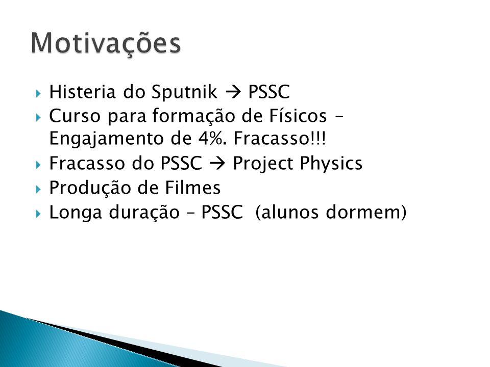  Histeria do Sputnik  PSSC  Curso para formação de Físicos – Engajamento de 4%. Fracasso!!!  Fracasso do PSSC  Project Physics  Produção de Film