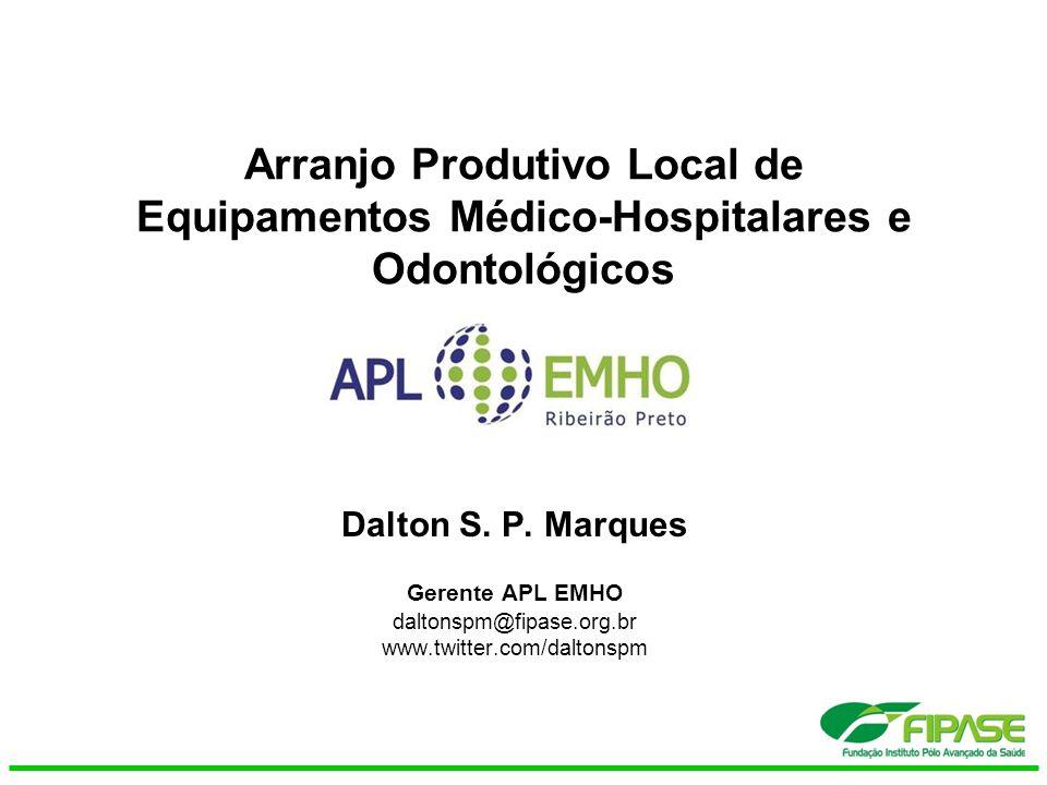 Arranjo Produtivo Local de Equipamentos Médico-Hospitalares e Odontológicos Dalton S. P. Marques Gerente APL EMHO daltonspm@fipase.org.br www.twitter.