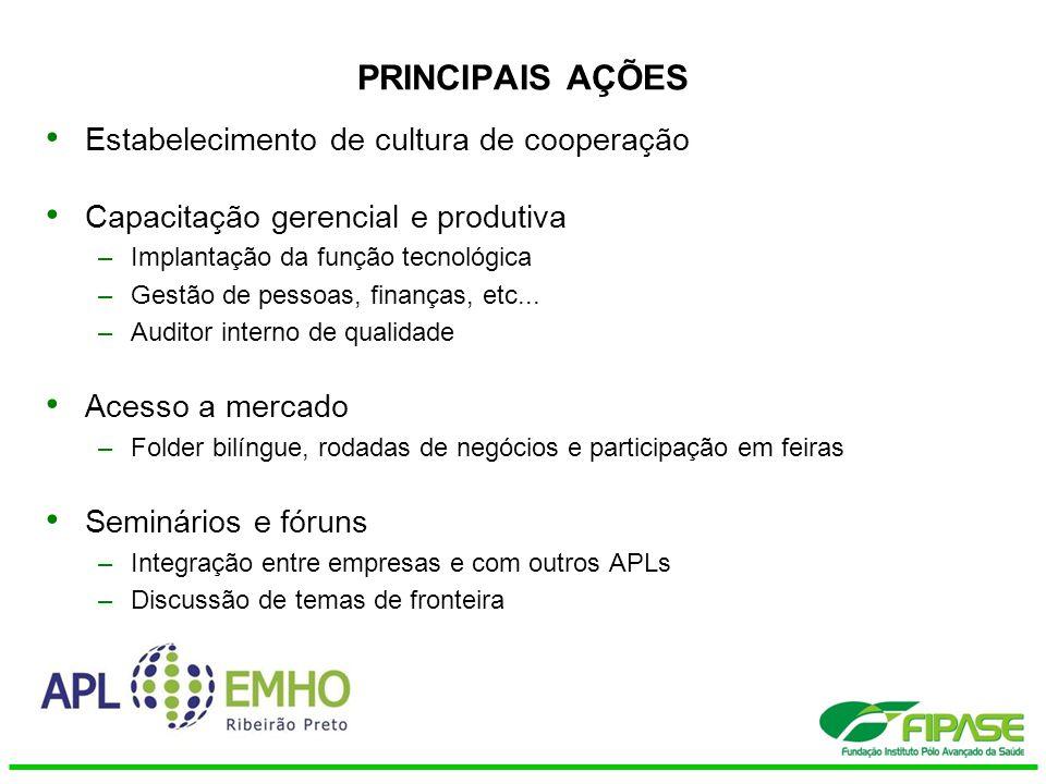 PRINCIPAIS AÇÕES Estabelecimento de cultura de cooperação Capacitação gerencial e produtiva –Implantação da função tecnológica –Gestão de pessoas, fin