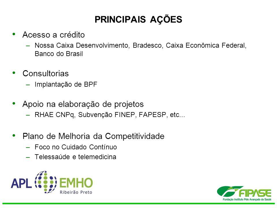 PRINCIPAIS AÇÕES Acesso a crédito –Nossa Caixa Desenvolvimento, Bradesco, Caixa Econômica Federal, Banco do Brasil Consultorias –Implantação de BPF Ap