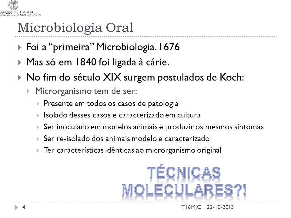 """Microbiologia Oral  Foi a """"primeira"""" Microbiologia. 1676  Mas só em 1840 foi ligada à cárie.  No fim do século XIX surgem postulados de Koch:  Mic"""