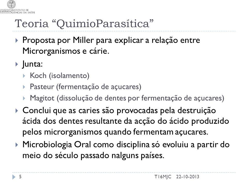 """Teoria """"QuimioParasítica""""  Proposta por Miller para explicar a relação entre Microrganismos e cárie.  Junta:  Koch (isolamento)  Pasteur (fermenta"""