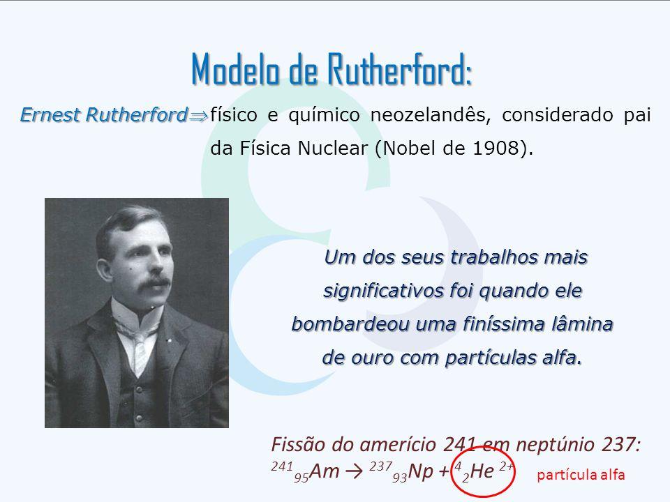 Modelo de Rutherford: Ernest Rutherford físico e químico neozelandês, considerado pai da Física Nuclear (Nobel de 1908). Um dos seus trabalhos mais s