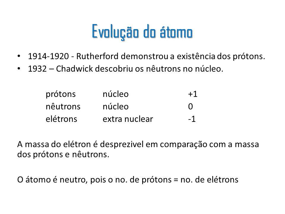 1914-1920 - Rutherford demonstrou a existência dos prótons. 1932 – Chadwick descobriu os nêutrons no núcleo. prótonsnúcleo+1 nêutronsnúcleo0 elétronse