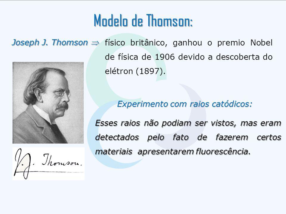 Experimento com raios catódicos: Experimento com raios catódicos: Modelo de Thomson: Joseph J. Thomson  físico britânico, ganhou o premio Nobel de fí