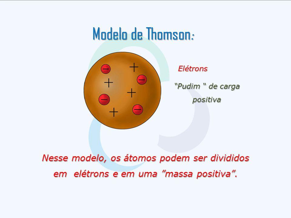 """Elétrons """"Pudim """" de carga positiva Nesse modelo, os átomos podem ser divididos em elétrons e em uma """"massa positiva"""". Modelo de Thomson :"""