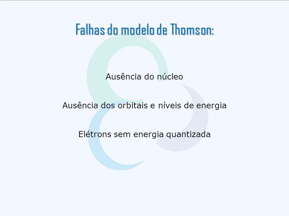 Ausência do núcleo Ausência dos orbitais e níveis de energia Elétrons sem energia quantizada Falhas do modelo de Thomson: