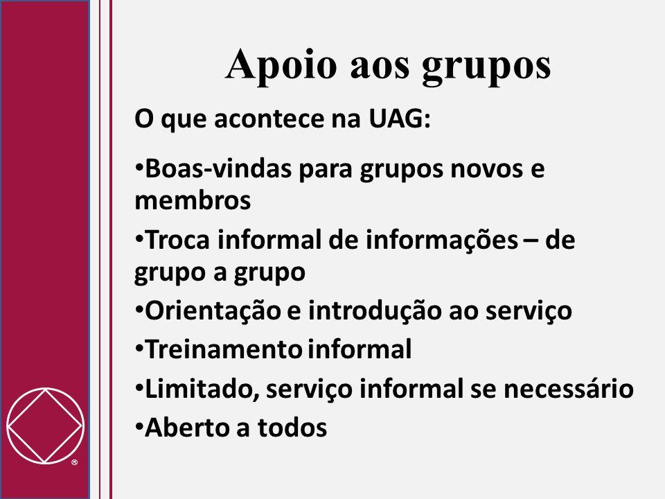  O que acontece na UAG: Boas-vindas para grupos novos e membros Troca informal de informações – de grupo a grupo Orientação e introdução ao serviço T