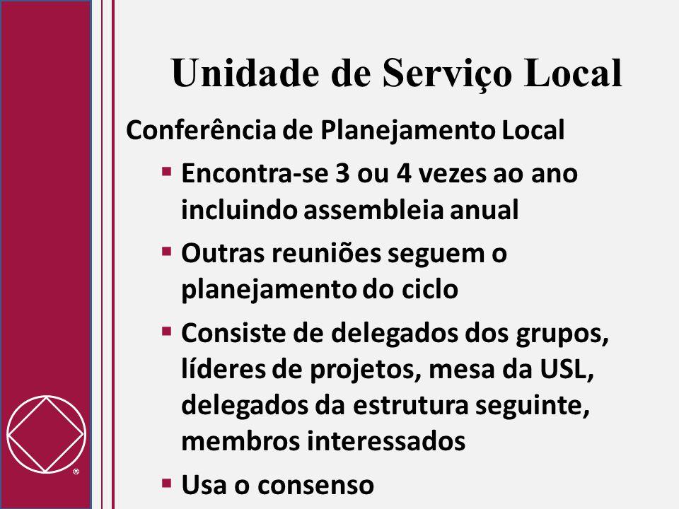  Unidade de Serviço Local Conferência de Planejamento Local  Encontra-se 3 ou 4 vezes ao ano incluindo assembleia anual  Outras reuniões seguem o p