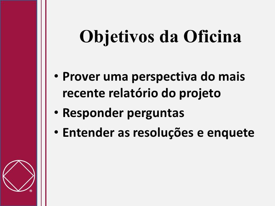  Objetivos da Oficina Prover uma perspectiva do mais recente relatório do projeto Responder perguntas Entender as resoluções e enquete