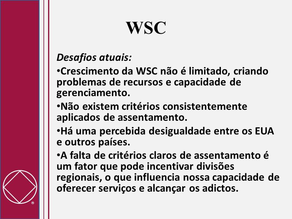  WSC Desafios atuais: Crescimento da WSC não é limitado, criando problemas de recursos e capacidade de gerenciamento. Não existem critérios consisten