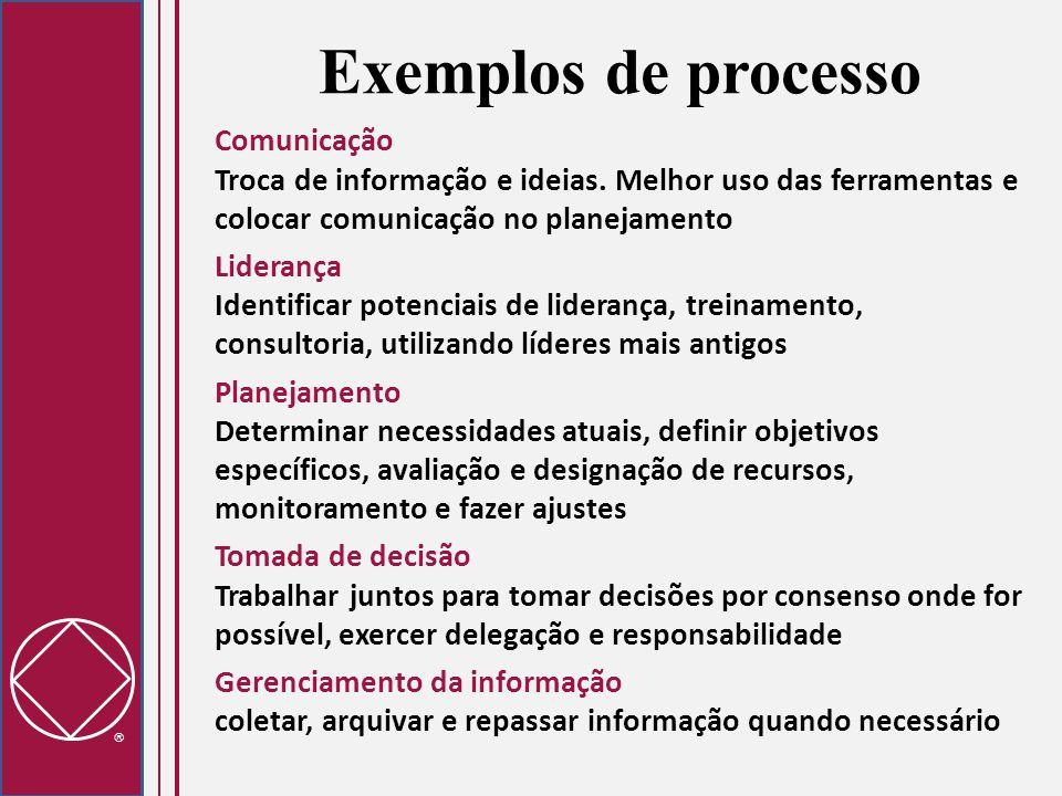  Exemplos de processo Comunicação Troca de informação e ideias. Melhor uso das ferramentas e colocar comunicação no planejamento Liderança Identifica