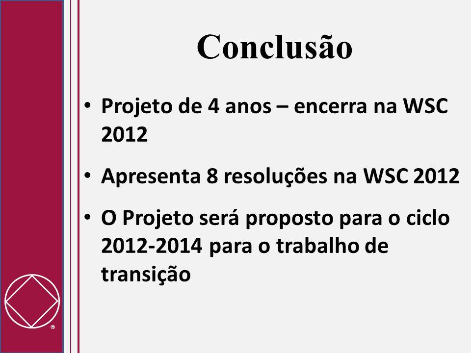  Conclusão Projeto de 4 anos – encerra na WSC 2012 Apresenta 8 resoluções na WSC 2012 O Projeto será proposto para o ciclo 2012-2014 para o trabalho