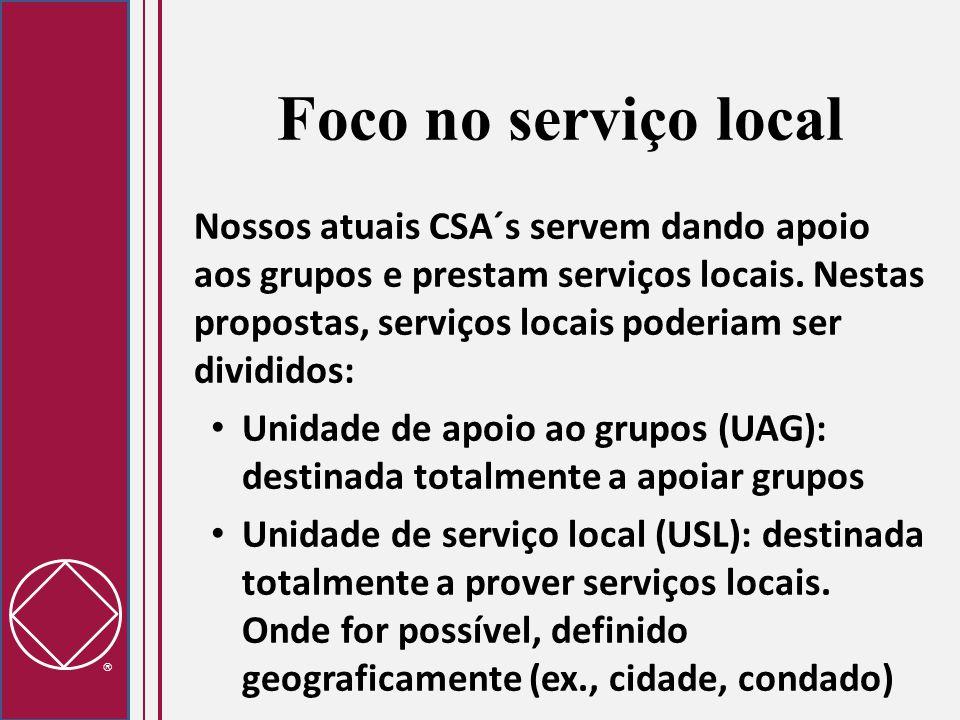  Foco no serviço local Nossos atuais CSA´s servem dando apoio aos grupos e prestam serviços locais. Nestas propostas, serviços locais poderiam ser di