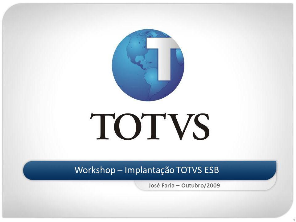 52 Workshop Implantação TOTVS ESB I)TOT Título do Slide I)TOTVS ESB II)Conceitos Base III)Instalação, Configuração e Administração IV)Atualização V)Webservices VI)Erros Comuns ÍNDICE