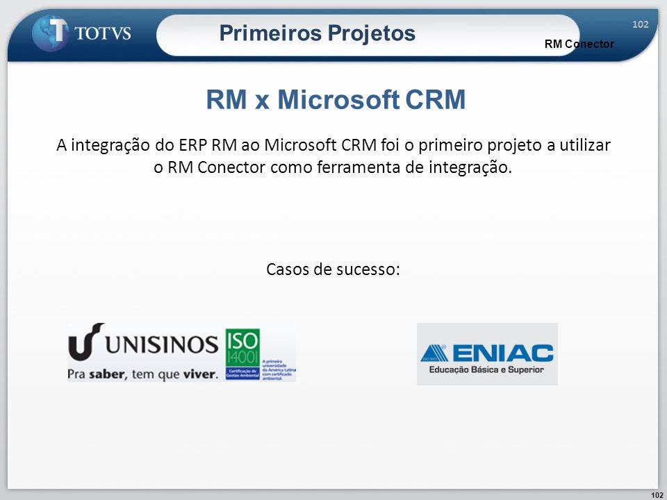 102 Primeiros Projetos RM x Microsoft CRM RM Conector A integração do ERP RM ao Microsoft CRM foi o primeiro projeto a utilizar o RM Conector como fer